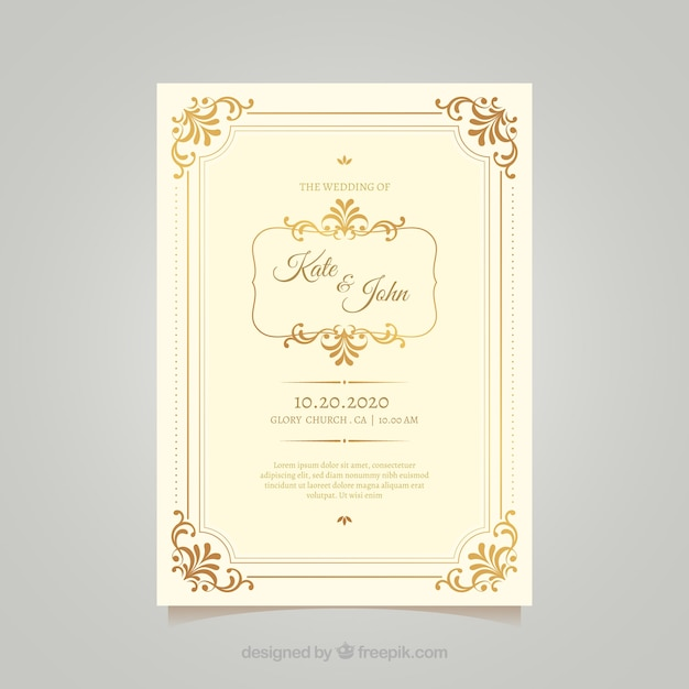 Vintage wedding card template with elegant style Free Vector