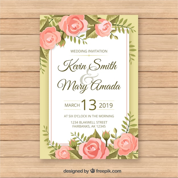 Vintage wedding card template with floral style Free Vector