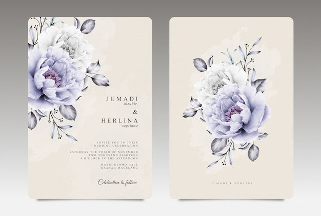 Vintage wedding card template with purple and white peony aquarel Premium Vector