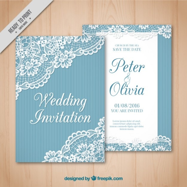 Vintage wedding card with lace detail Free Vector