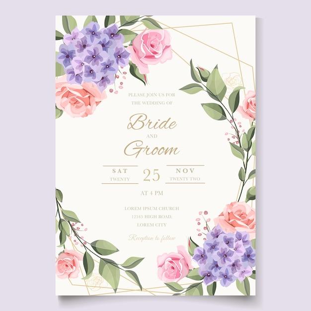 バラとヴィンテージのウェディングカード Premiumベクター