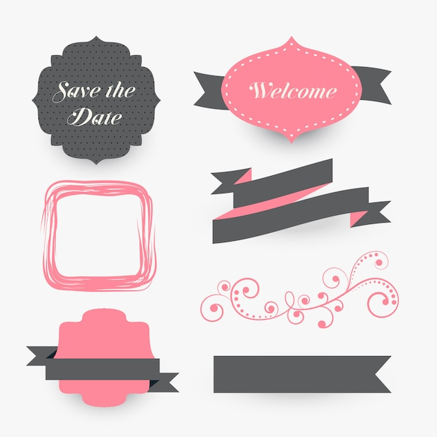 vintage wedding decoration elements collection Free Vector