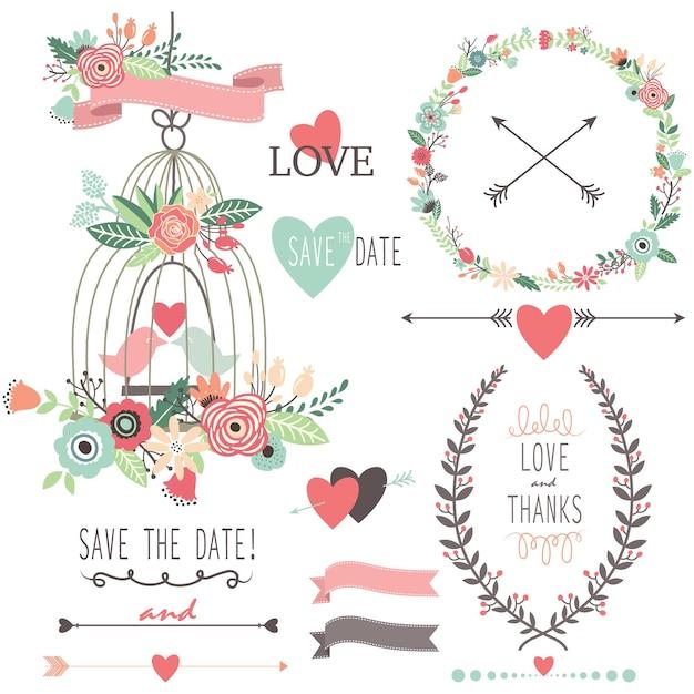 Винтажные свадебные цветы и птичья клетка Premium векторы