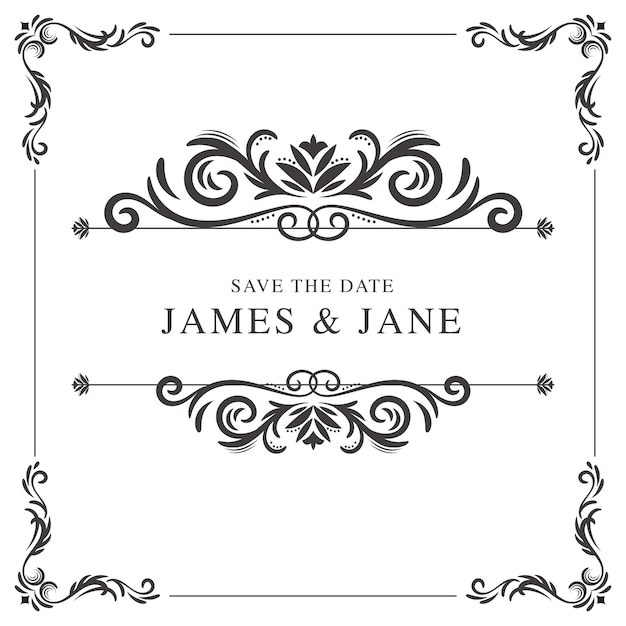 Vintage wedding frame Vector | Free Download