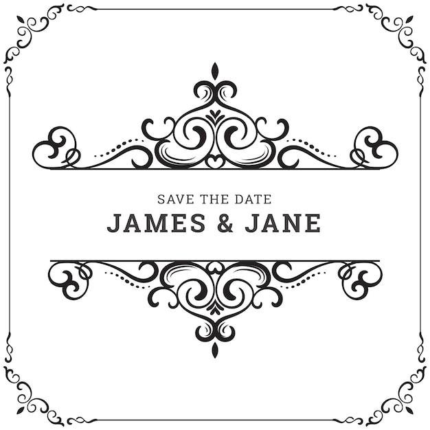 Vintage wedding frame Vector | Premium Download