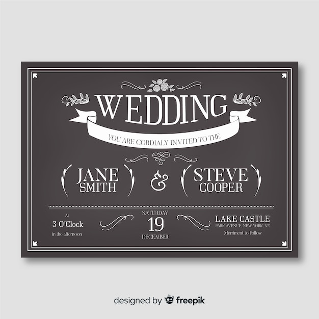 Vintage wedding invitation on blackboard template Free Vector