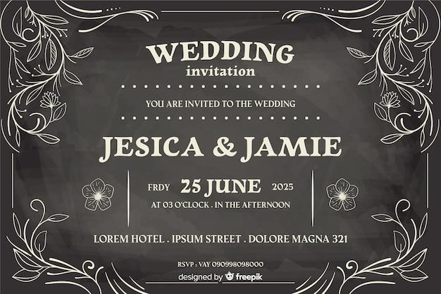Vintage wedding invitation on blackboard Free Vector