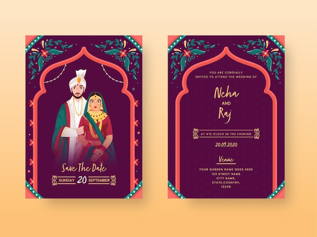 Vintage wedding invitation card or template layout with indian couple character in front and back view. Premium Vector