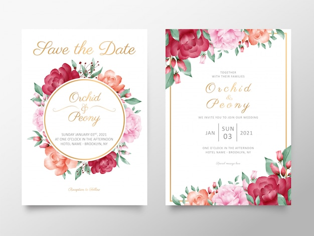 Vintage wedding invitation card template set with watercolor roses and peonies flowers Premium Vector