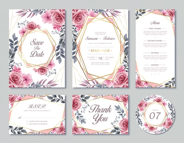 Vintage wedding invitation card template  watercolor floral flowers style with rsvp menu and table number Premium Vector