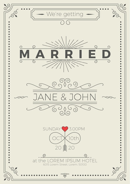 Vintage wedding invitation card template with clean simple layout