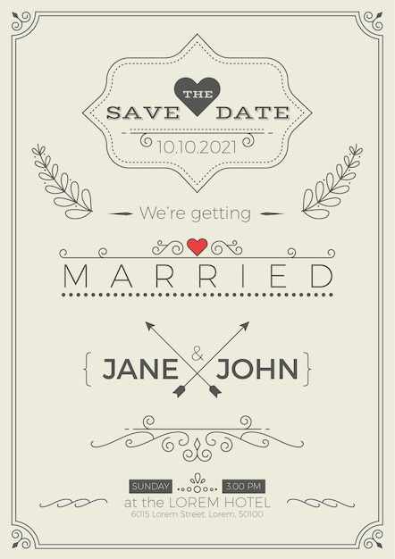 Vintage wedding invitation card template with clean & simple layout ...