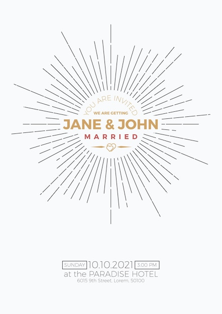 Vintage Wedding Invitation Card Template With Clean Simple Layout - Simple wedding card template
