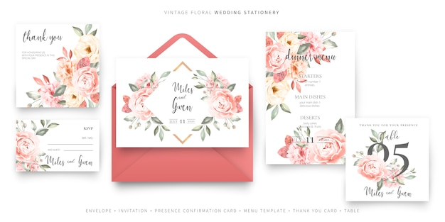 Vintage wedding invitation card template with envelope collection Free Vector