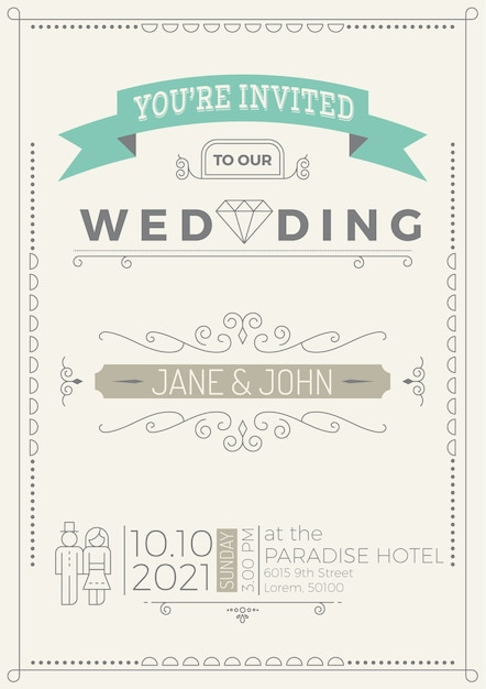 Vintage wedding invitation card template with flourish ornaments ...