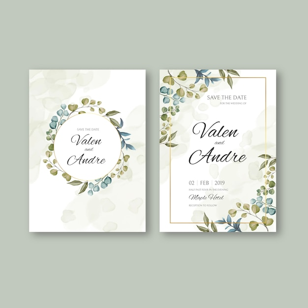 premium vector vintage wedding invitation card template with leaves background and golden frame https www freepik com profile preagreement getstarted 7001211