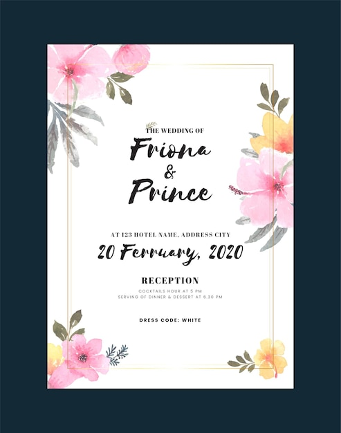 Vintage wedding invitation card with flower and leaves Free Vector
