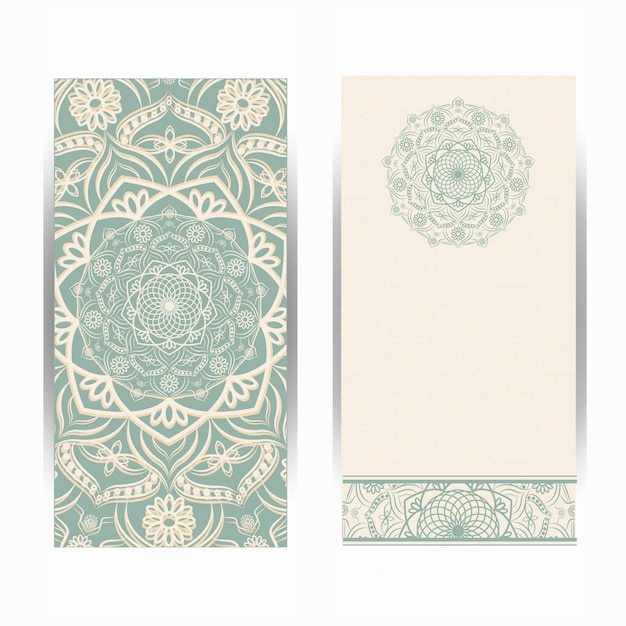 Vintage wedding invitation card with mandala pattern, floral mandala pattern and ornaments. oriental design . Premium Vector