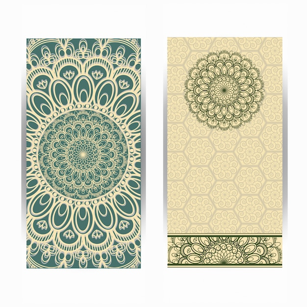 Vintage wedding invitation card with mandala pattern, floral mandala pattern and ornaments. oriental design. Premium Vector
