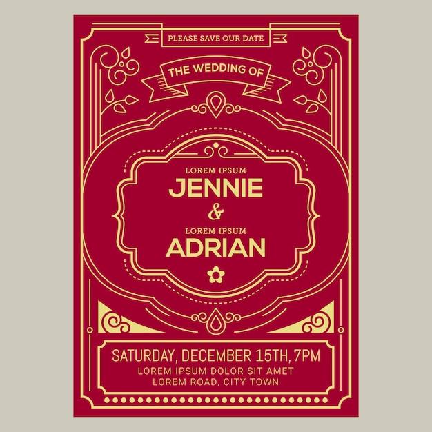 Vintage wedding invitation card Vector | Premium Download