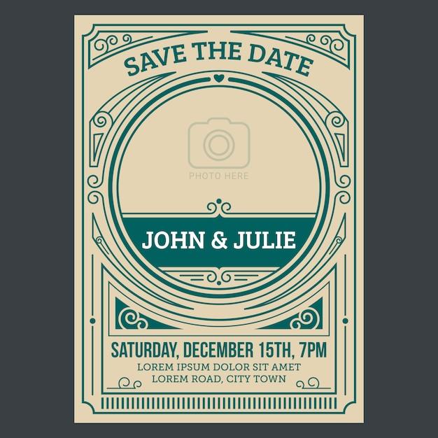 Vintage wedding invitation card Premium Vector