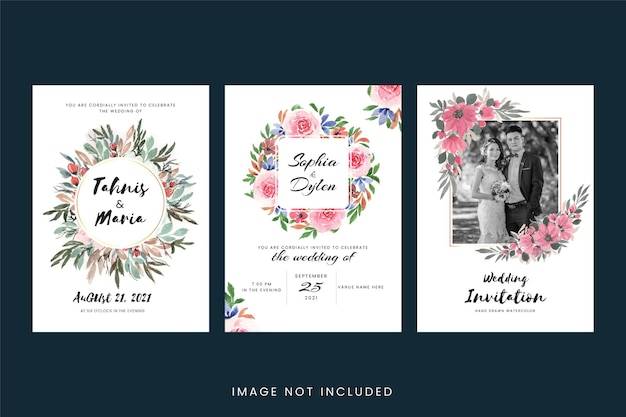 Vintage wedding invitation cards with flower and leaves Free Vector