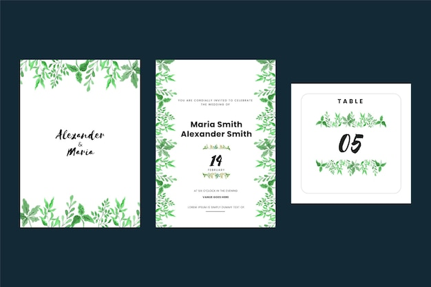 Vintage wedding invitation cards with leaves Free Vector