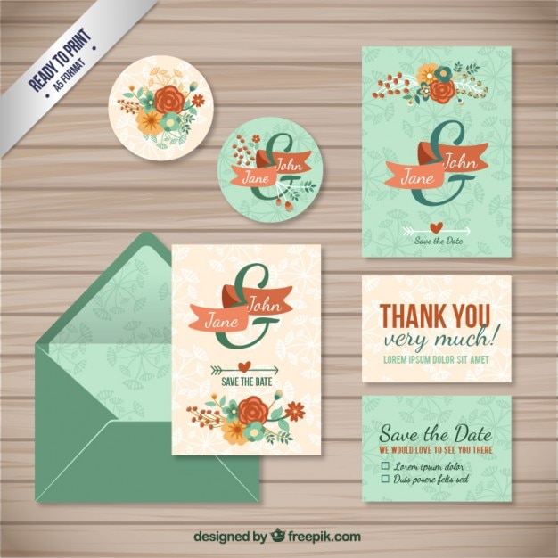 Vintage wedding invitation collection Premium Vector
