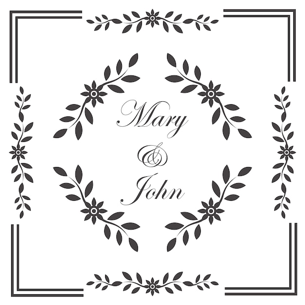 Vintage wedding invitation frame Free Vector