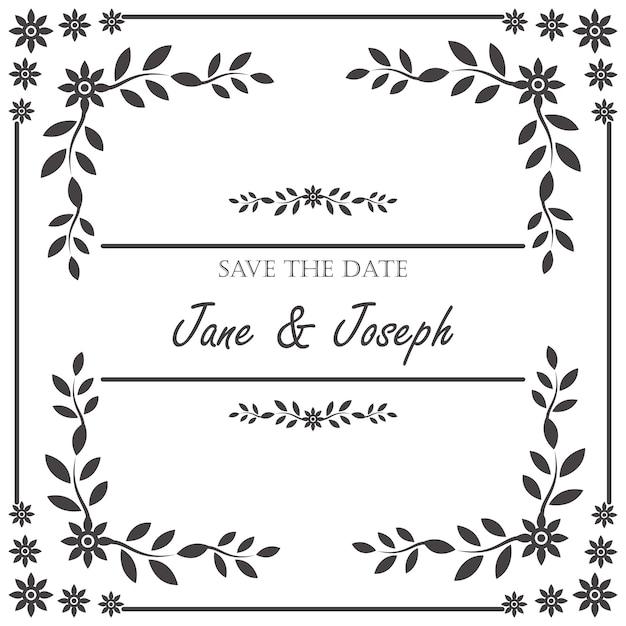 Vintage Wedding Invitation Frame Free Vector