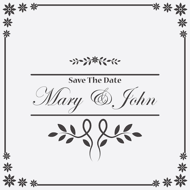 Vintage Wedding Invitation Frame Vector Free Download