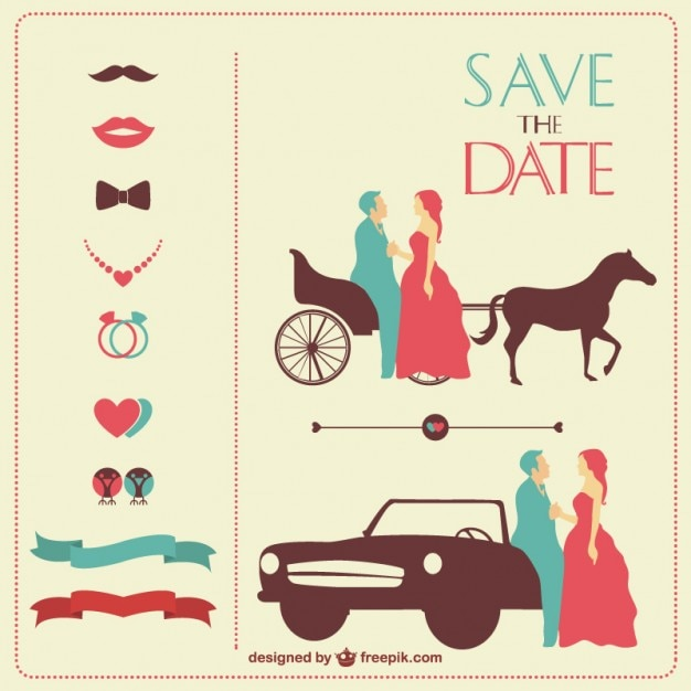 Vintage Wedding Invitation In Red And Blue Free Vector