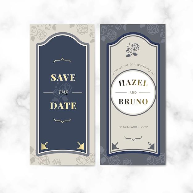 Vintage wedding invitation label vector set Free Vector