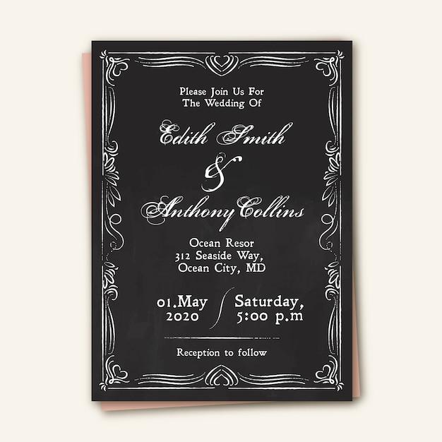 Vintage wedding invitation template on blackboar Free Vector