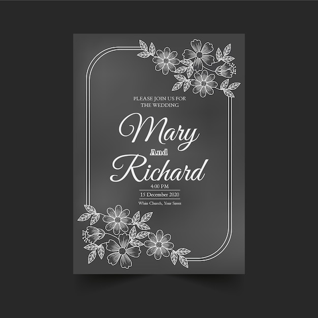 Vintage wedding invitation template on blackboard Free Vector