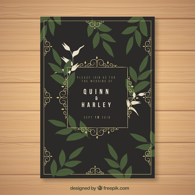 Vintage wedding invitation template with floral style Vector | Free ...
