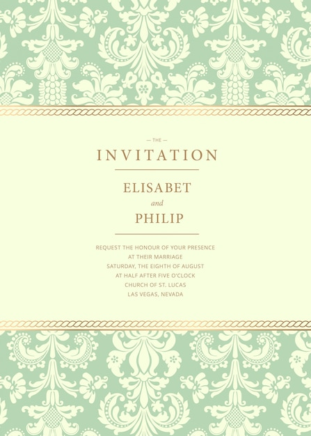 Vintage wedding invitation template Premium Vector
