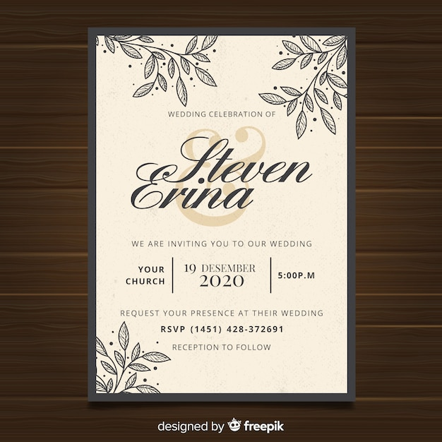Vintage wedding invitation template Free Vector