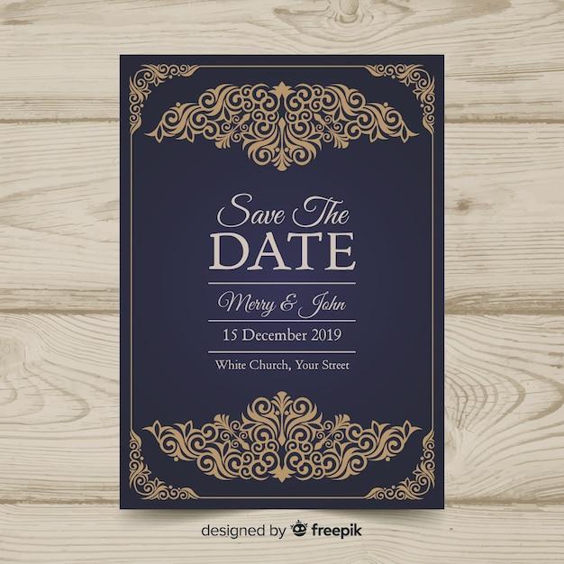 Vintage wedding invitation template Free Vector