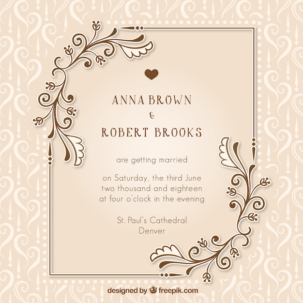 Vintage Wedding Invitation With Fl Details Free Vector