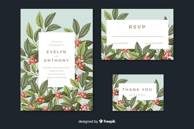 Vintage wedding invitation with leaves Free Vector