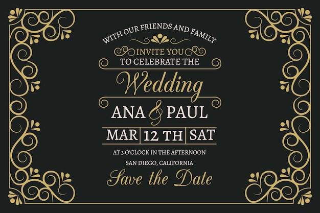 Vintage wedding invitation with lovely lettering template Free Vector