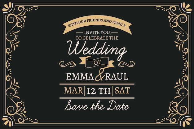 Vintage wedding invitation with lovely lettering Free Vector