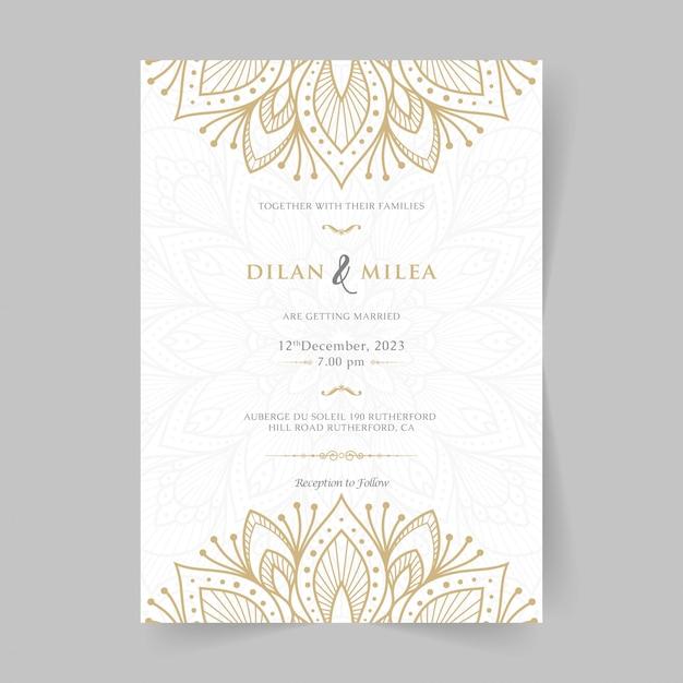 Premium Vector Vintage Wedding Invitation With Mandala
