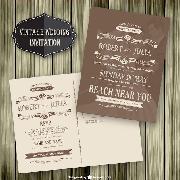 vintage wedding invitation wood template vector free download