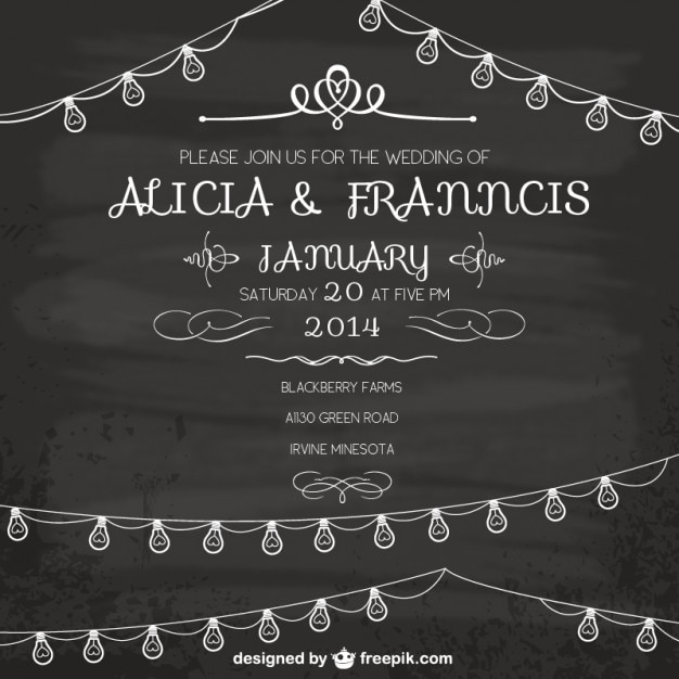 Vintage Wedding Invitation Free Vector