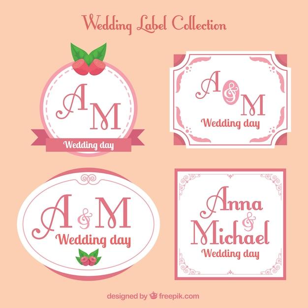 Vintage wedding labels in different shapes