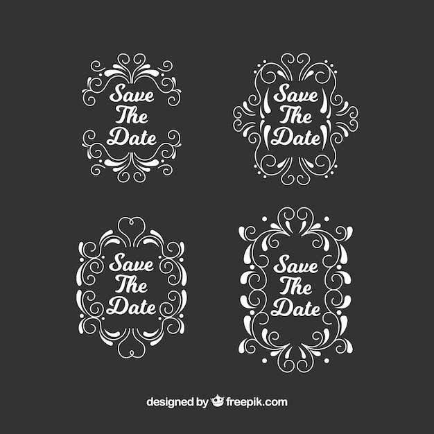 Vintage wedding labels on blackboard