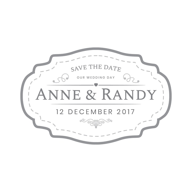 vintage wedding labels template in white color vector premium download