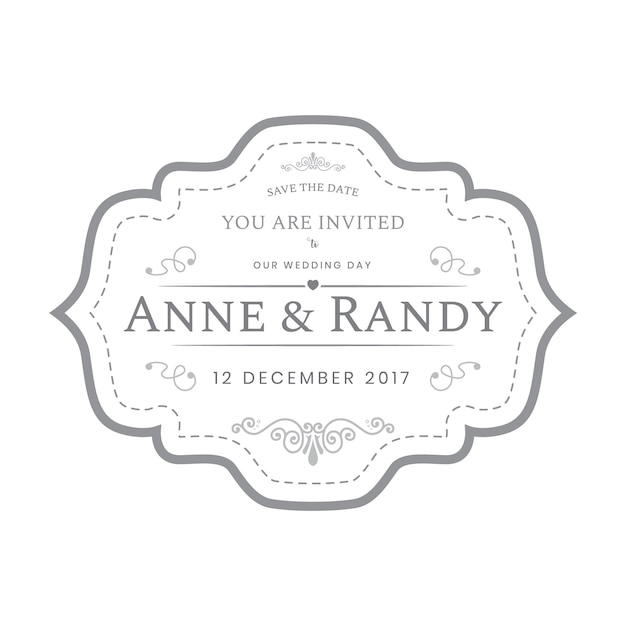 Vintage wedding labels template in white color  Premium Vector